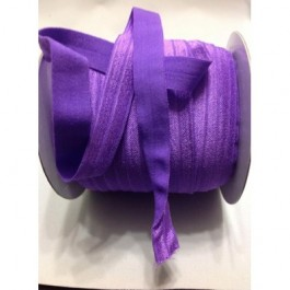 ER012: PURPLE: FOE Fold Over Elastic Ribbon DIY Stretch Baby Headband Hair Tie Accessories Webbing 15mm, 5 meter