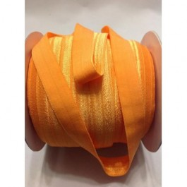 ER014: ORANGE: FOE Fold Over Elastic Ribbon DIY Stretch Baby Headband Hair Tie Accessories Webbing 15mm, 5 meter