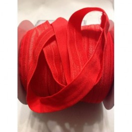 ER016: POPPY RED: FOE Fold Over Elastic Ribbon DIY Stretch Baby Headband Hair Tie Accessories Webbing 15mm, 5 meter