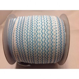ER023: BABY BLUE CHEVRON FOE Fold Over Elastic Ribbon DIY Stretch Baby Headband Hair Tie Accessories Webbing 15mm, 5 meter