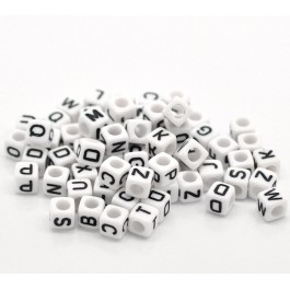 B18077: White Alphabet Acrylic Beads 6x6mm, 500 pieces [ B14 ]