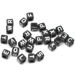 B17033: Black Alphabet Acrylic Beads 6x6mm, 500 pieces [ B4 ]