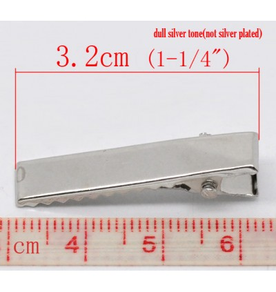 B11521: Silver Tone Prong Barrettes Hair Clips 3.2x0.7cm, 50 pieces/pack [ C8 ]