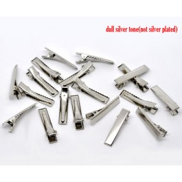 B11521: 50 pieces 32mm Silver Tone Alloy Alligator Hair Clips Prong Barrettes DIY Hair Accessory [ C8 ]