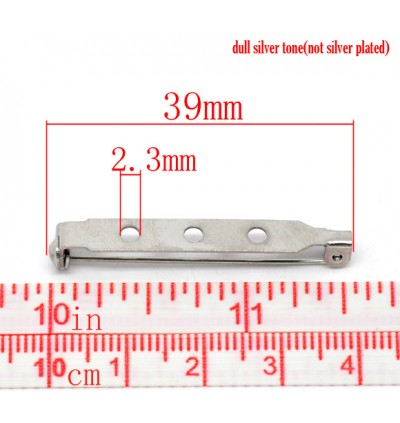 B14077: 50 pieces 39x5mm Iron Based Alloy Pin Brooches Back Bar Findings Silver Tone DIY Craft Brooch [ C7 ]