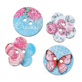 B54317: 50 pieces 24mm Dia Wood Sewing Buttons Scrapbook At Random 2 Holes Butterfly Pattern [ B17 ]