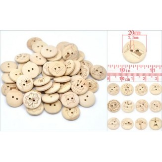 B14649B: Mixed Nature Color Wood Buttons 20mm, 6 pieces [ B6 ]