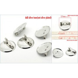 B18664B: Silver Tone Round Brooches 20mm (Fit 18mm Dia), 8 pieces