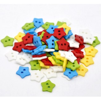B14131B: Mixed Star Buttons 15x15mm, 8 pieces