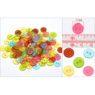 B14137B: Mixed Round Resin Buttons 11mm, 10 pieces