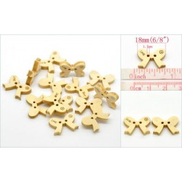 B20164B: Love Bowknot 2 Holes Wood Buttons 18x13mm, 8 pieces