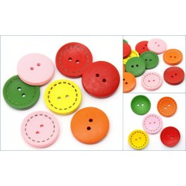 B22800B: Wood Buttons Round Mixed 25mm, 6 pieces