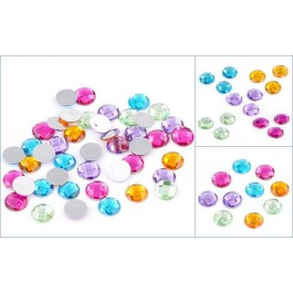 B22286B: Mixed Faceted Acrylic Findings Round Flatback 14mm, 8 pieces