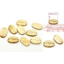B19446B: Friend-Oval Wood 17x11mm 20 pieces  [ C18 ]