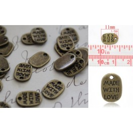 B14389B: Antique Made with Love 11x8mm, 8 pieces