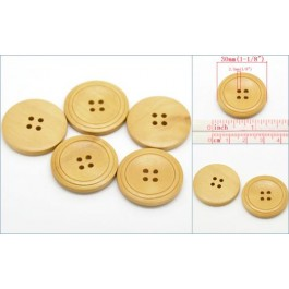 B19501B: Natural Round Wood Buttons 30mm, 4 pieces
