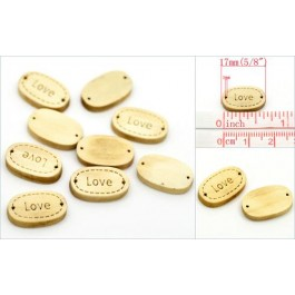 B19444B: 10 pieces: Love Oval Wood Jewelry Connectors 17x11mm