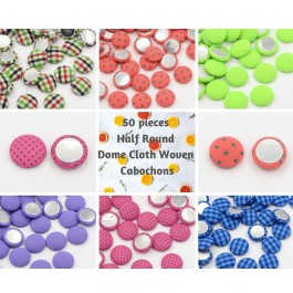 MC379: 50 pcs 15mm Scrapbook Garment Accessories Flat Back Half Round Dome Cloth Fabric Covered Cabochons with Aluminum Bottom