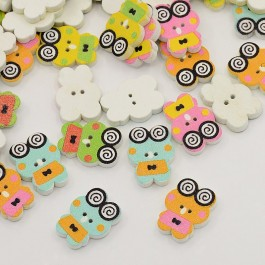 MC323: Frog Wood Button 16x12mm, 50 pieces [ A20 ]