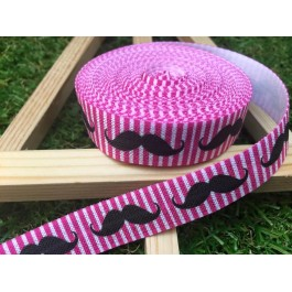 ER081: MOUSTACHE: FOE Fold Over Elastic Ribbon DIY Stretch Baby Headband Hair Tie Accessories Webbing 15mm, 5 meter