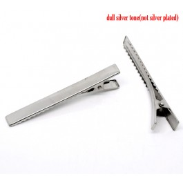 B10850: Silver Tone Prong Barrettes Hair Clips 77x16mm, 20 pieces/pack [ A3 ]
