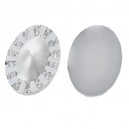 B58264: Resin Oval Silver Tone 18x13mm, 100 pieces [ B11 ]