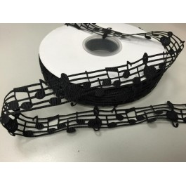 RB001: Black Musical Notes Grosgrain Ribbons 28mm, 5meter