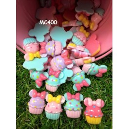 MC400: Cute Cupcake with Bows Resin 20x16mm, 25 pieces/pack [ A1 ]