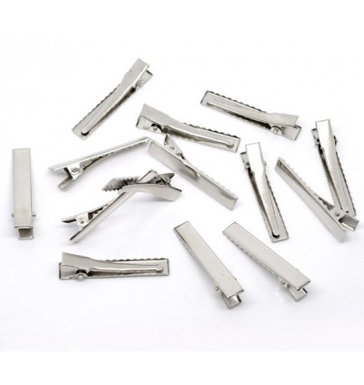 B10403: Silver Tone Prong Barrettes Hair Clips 46mm, 50 pieces [ A23 ]