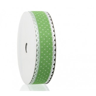 B44708: Green Dot Ribbon 25mm, 5meter