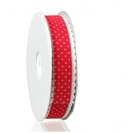 B44706: Red Dot Ribbon 25mm, 5 meter