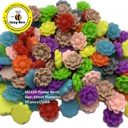 MC419: 50 pieces Colourful Cute Flower Resin DIY Flat back Resin 15mm [ C18 ]