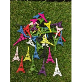 B50791: Wood Paris Eiffel Tower 44x24mm, 100 pieces [ B11 ]