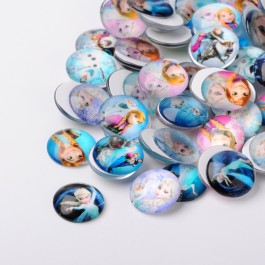 MC460: 20 pieces 20 mm Frozen Printed Glass Half Round / Dome Cabochons Printed Glass Half Round/Dome Cabochons DIY Jewelry Making accessory time gem glass [ A23 ]