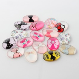 MC458: 20 pieces 18x13 mm Cute Bowknot Oval Printed Glass Cabochons DIY Jewelry Making accessory time gem glass [ A9 ]