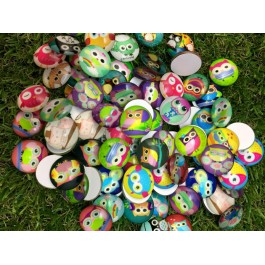 MC451: Cartoon Owl Round Cabochons 20mm, 20 pieces/pack [ B18 ]