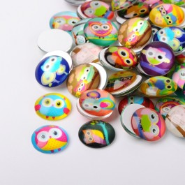 MC451: 20 pieces 20mm Cartoon Owl Round Printed Glass Half Round/Dome Cabochons DIY Jewelry Making accessory time gem glass [ B18 ]