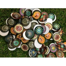 MC461: Mosaic Round Cabochons 20mm, 20 pieces [ B18 ]