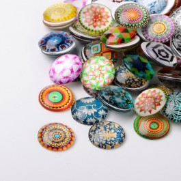 MC461: 20 pieces 20mm Mosaic Round Printed Glass Half Round / Dome Cabochons DIY Jewelry Making accessory time gem glass [ B18 ]