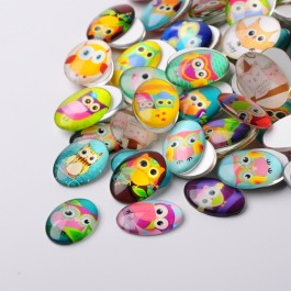 MC450: 20 pieces 18x13 mm Cartoon Owl Oval Printed Glass Cabochons DIY Jewelry Making accessory time gem glass [ A9 ]