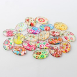 MC457: 20 pieces 18x13 mm Multicolour Floral Oval Printed Glass Cabochons DIY Jewelry Making accessory time gem glass [ A9 ]