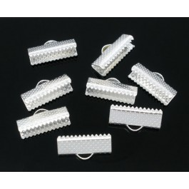 B05981: Silver Plated Textured End Caps Crimp 16x7mm, 100 pieces [ B3 ]