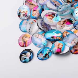 MC474: 20 pieces 25x18mm Frozen Oval Printed Glass Cabochons DIY Jewelry Making accessory time gem glass [ A9 ]
