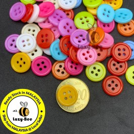 MC426: 200 pieces 12mm Acrylic Sewing Buttons Resin Button DIY Sewing Craft Kids Scrapbook Butang Handmade