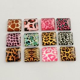 MC485: 20 pieces 20x20mmm diameter Animal Print Square Glass Flat back Cabochons DIY Jewelry making Craft [ C18 ]