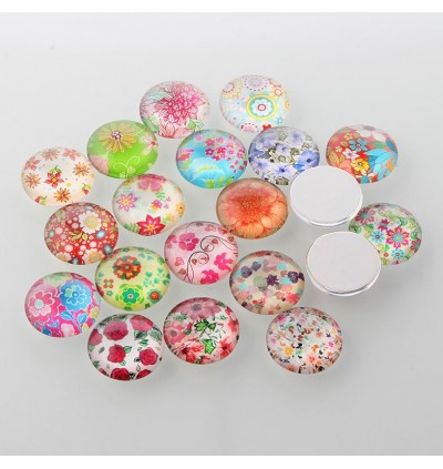 MC480: 20 pieces 20mm diameter Flower Floral Glass Flat back Cabochonse Half Round / Dome DIY Jewelry making Craft [ C4 ]