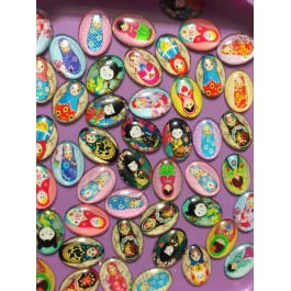 MC484: Cute Girl Glass Oval Cabochons 25mm, 20 pieces [ C18 ]