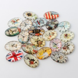 MC478: 20 pieces 18x25mm diameter Flower Clock Glass Oval Flat back Cabochonse DIY Jewelry making Craft [ C4 ]