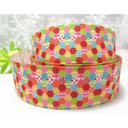 RB004: Colourful Dot Grosgrain Ribbon 25mm, 5meter