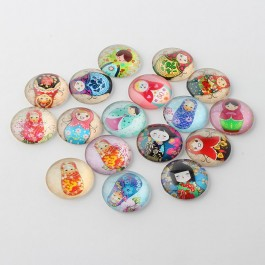 MC476: 20 pieces 20mm diameter Russian Nesting Dolls Glass Cabochons Half Round / Dome DIY Jewelry making Craft [ C3 ]